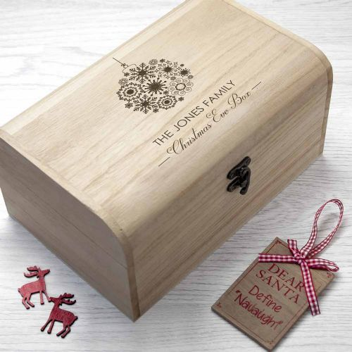 Family Christmas Eve Chest With Decorative Bauble Design